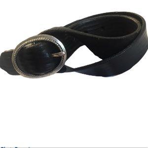 Tooled Black Leather Belt